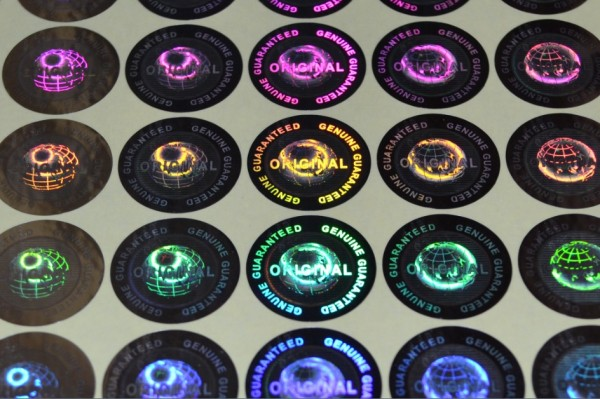(mittel bis 500 mm²) voll personalisierter 3D Hologramm Sticker/Siegel rund
