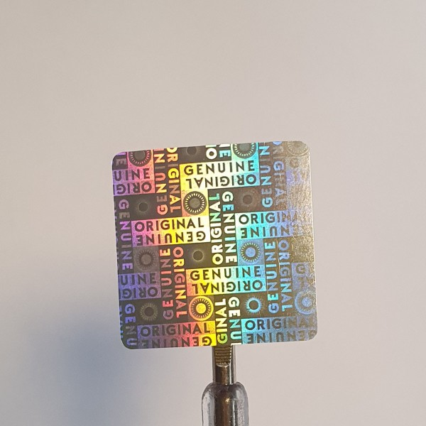 """""""Genuine"""" 3D Hologramm Sicherheitssiegel 25x25 mm Silber"""