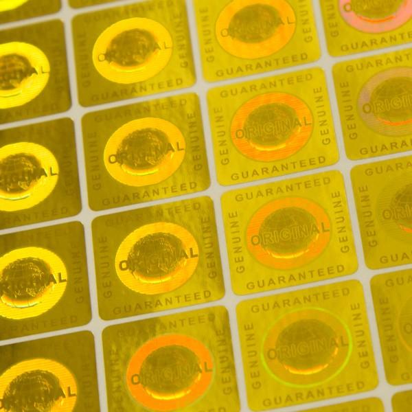 """""""Original"""" 3D Hologramm Sicherheitssiegel Gold 20x20mm"""