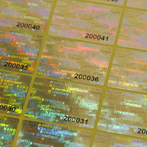 """""""Sicher"""" 3D Hologramm Sicherheitssiegel 30x20 mm Silber mit lfd. Nummer"""