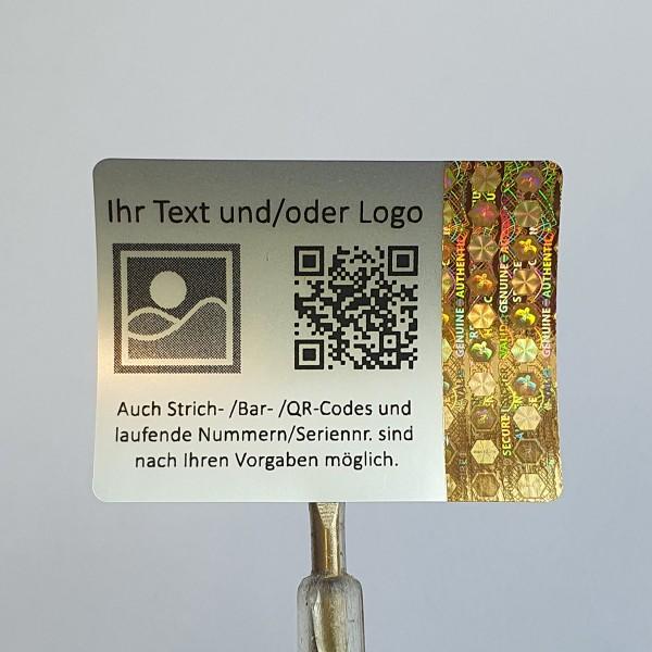 teil personalisiert - 3D Hologramm Sicherheitssiegel 4 x 3 cm Gold mit schwarzem Druck