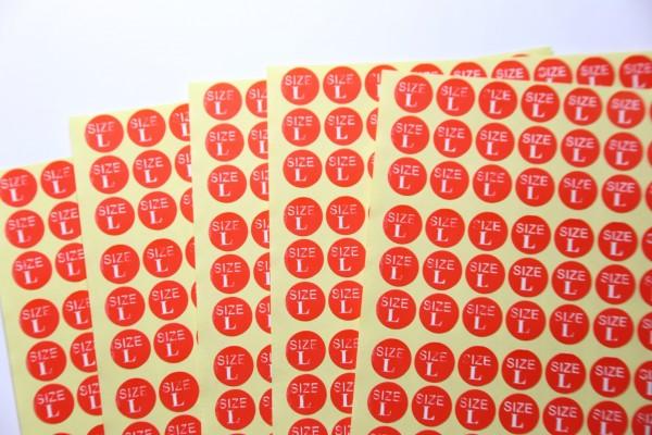 Größenaufkleber zur Auszeichnung von Textilien
