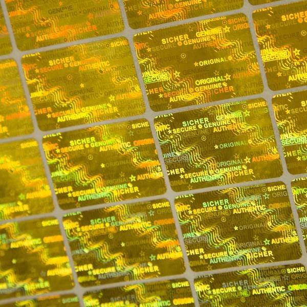 """""""Sicher"""" 3D Hologramm Sicherheitssiegel 30x20 mm Gold"""