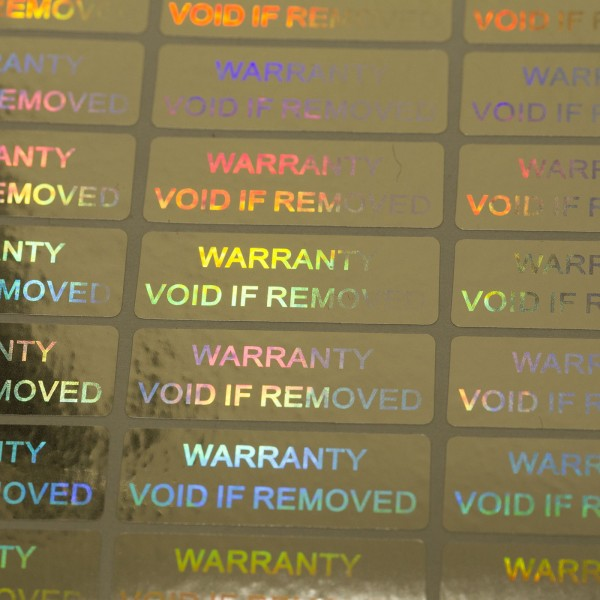 """Warranty Void if removed"" 3D Hologramm Garantiesiegel silber"