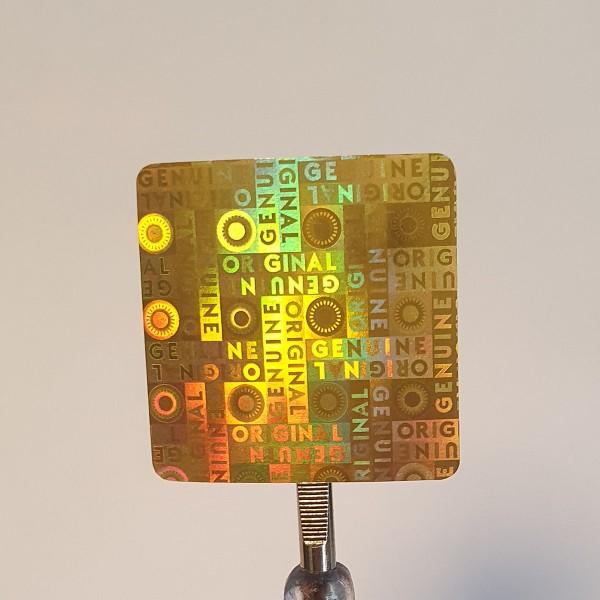 """""""Genuine"""" 3D Hologramm Sicherheitssiegel 25x25 mm Gold"""