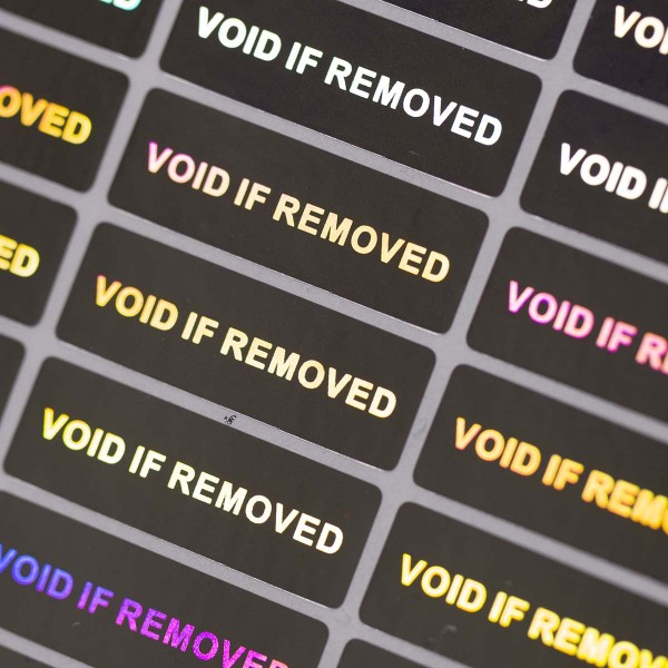 """Void if removed"" 3D Hologramm Garantiesiegel silber"