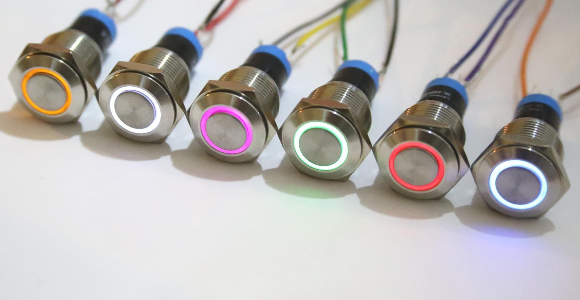 Einbauschalter rastend Schalter Druckschalter 16 mm max 250V / 3A ...